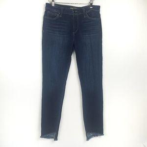 Joe's Jeans Icon Raw Step-Hem Ankle Dark Jeans 30